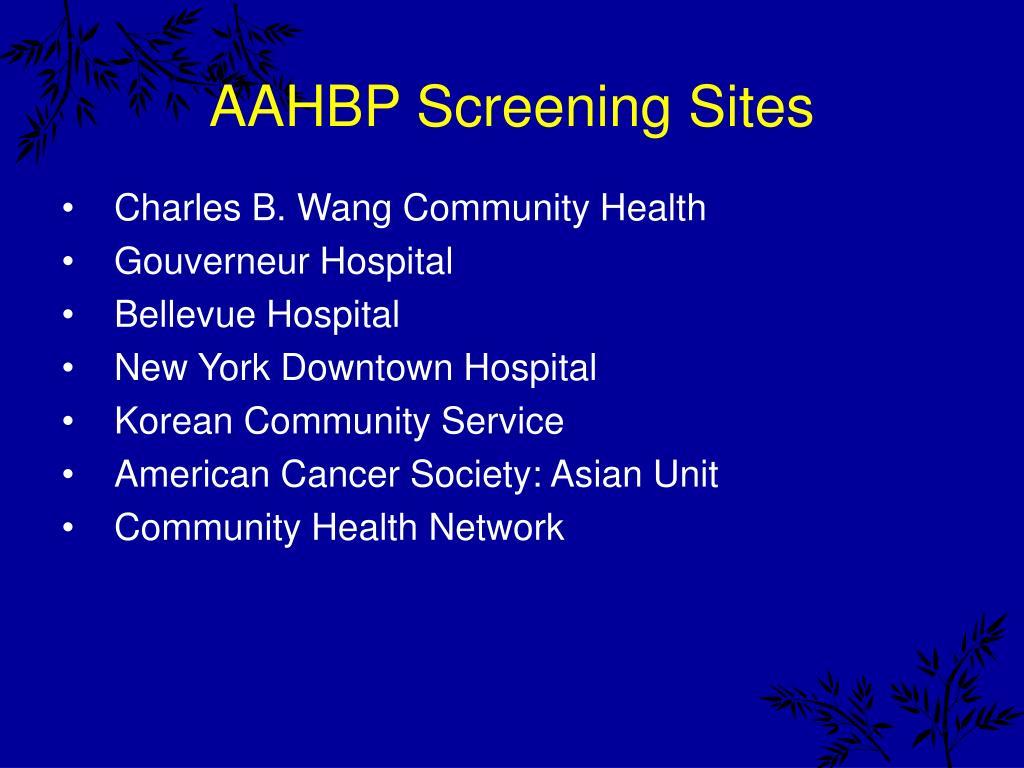 AAHBP Screening Sites