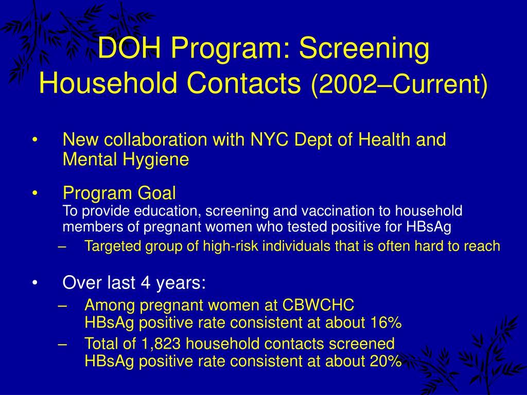 DOH Program: Screening
