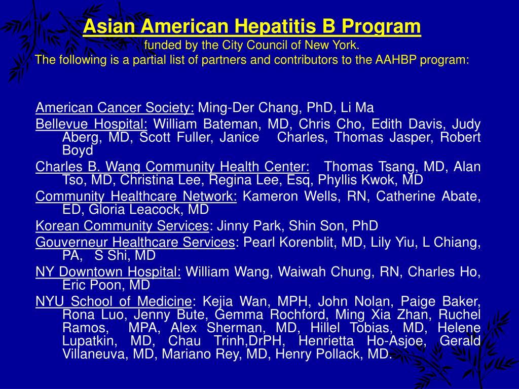 Asian American Hepatitis B Program