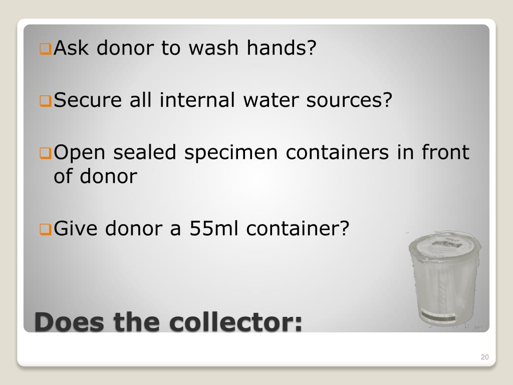 Ask donor to wash hands?
