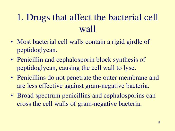 1. Drugs that affect the bacterial cell wall