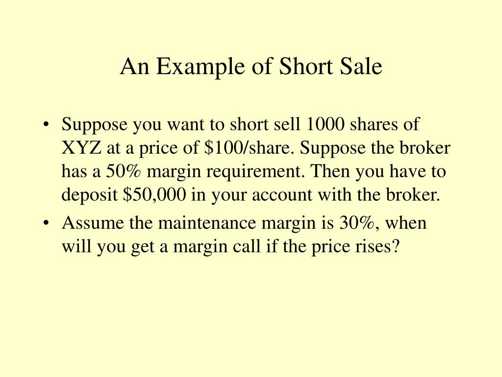 An Example of Short Sale