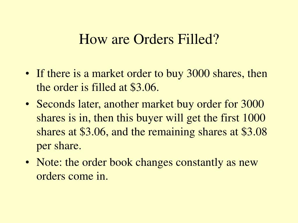 How are Orders Filled?