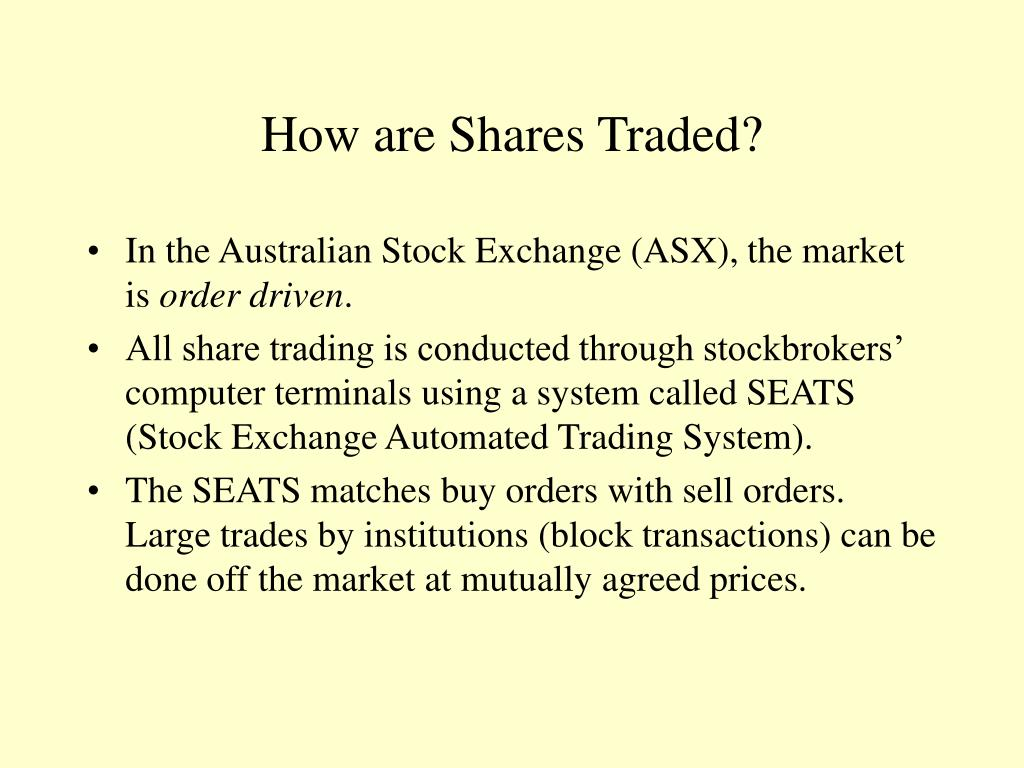 How are Shares Traded?