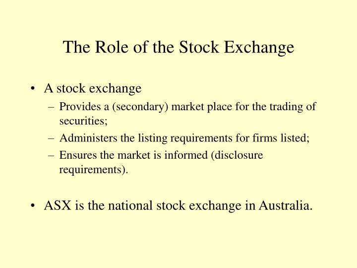The role of the stock exchange