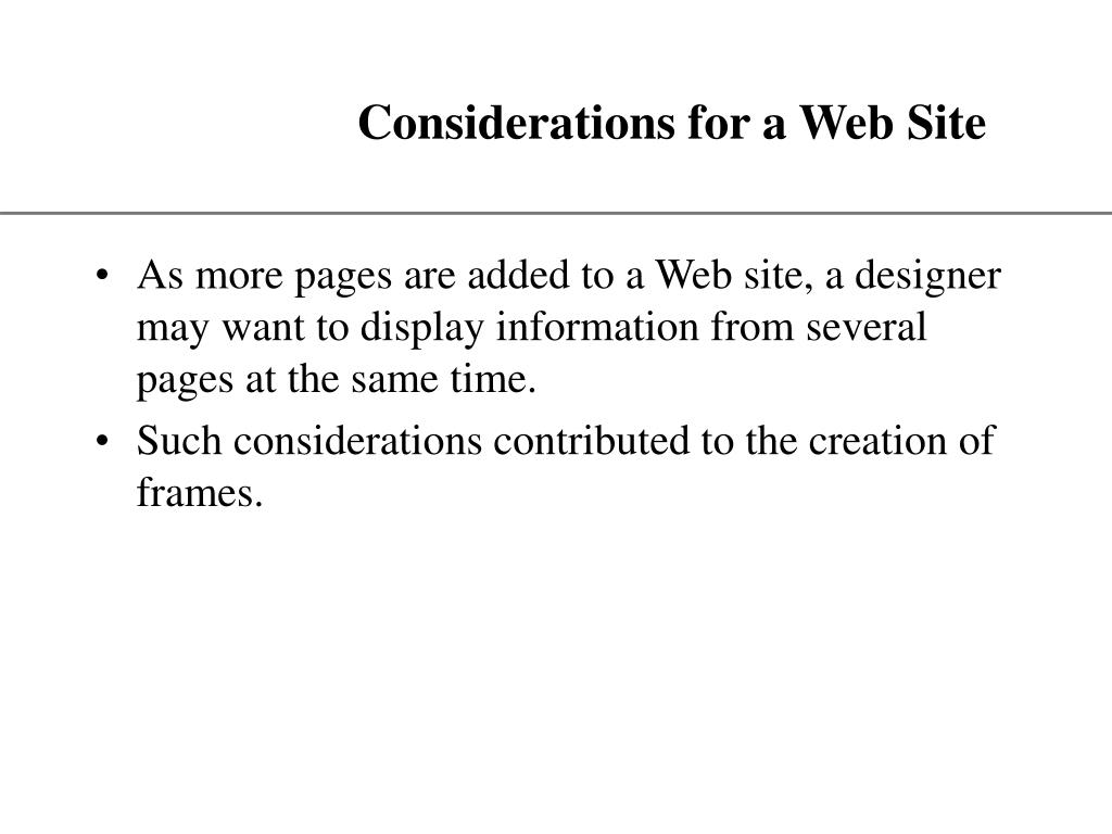 Considerations for a Web Site