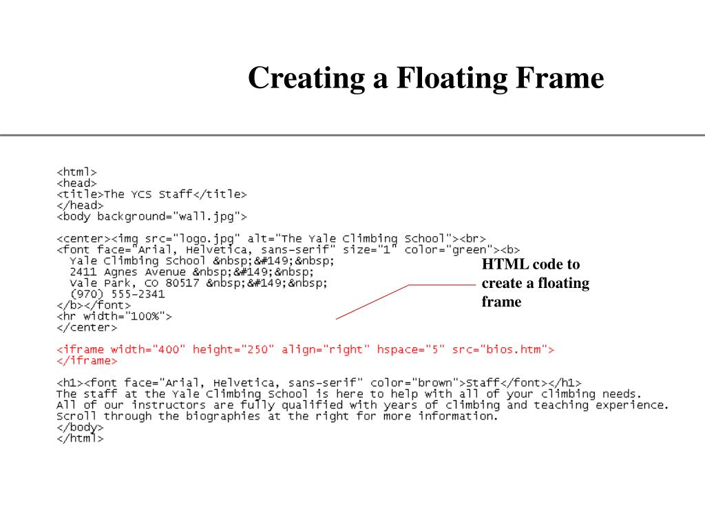 Creating a Floating Frame