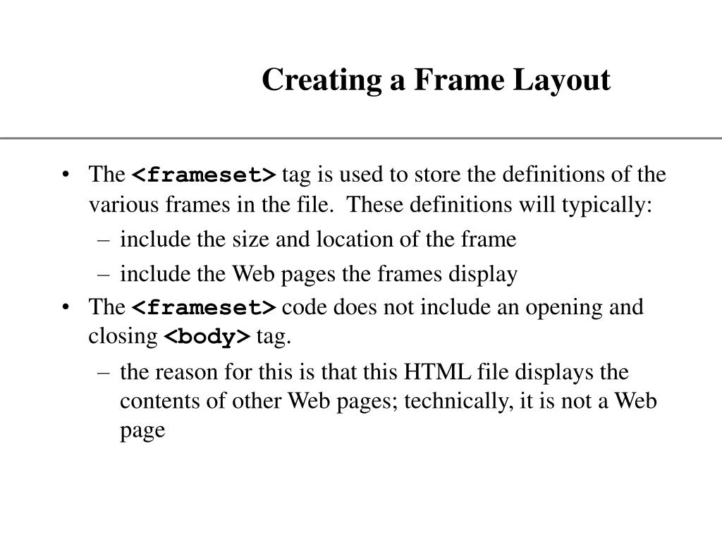 Creating a Frame Layout