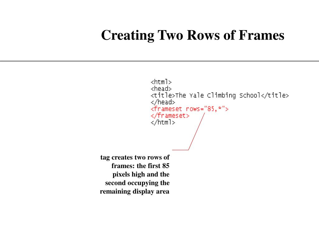 tag creates two rows of frames: the first 85 pixels high and the second occupying the remaining display area