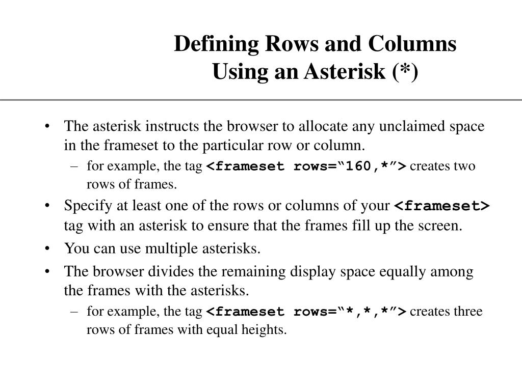 Defining Rows and Columns