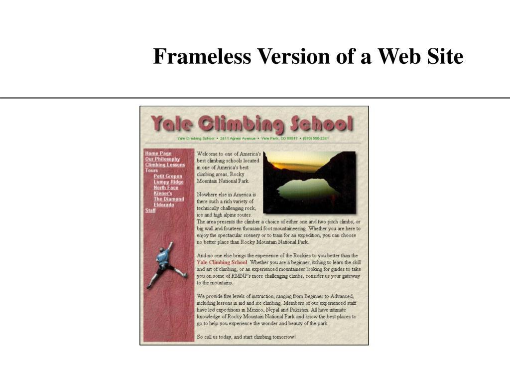 Frameless Version of a Web Site