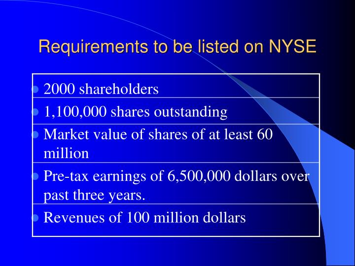 Requirements to be listed on nyse