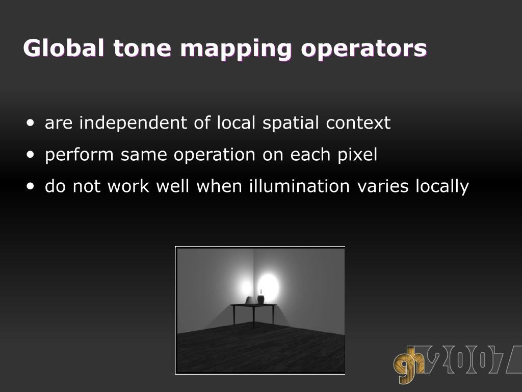Global tone mapping operators