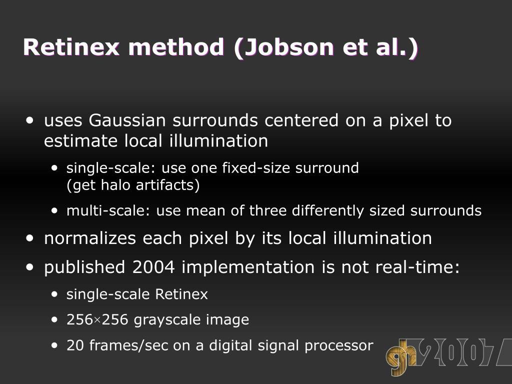 Retinex method (Jobson et al.)