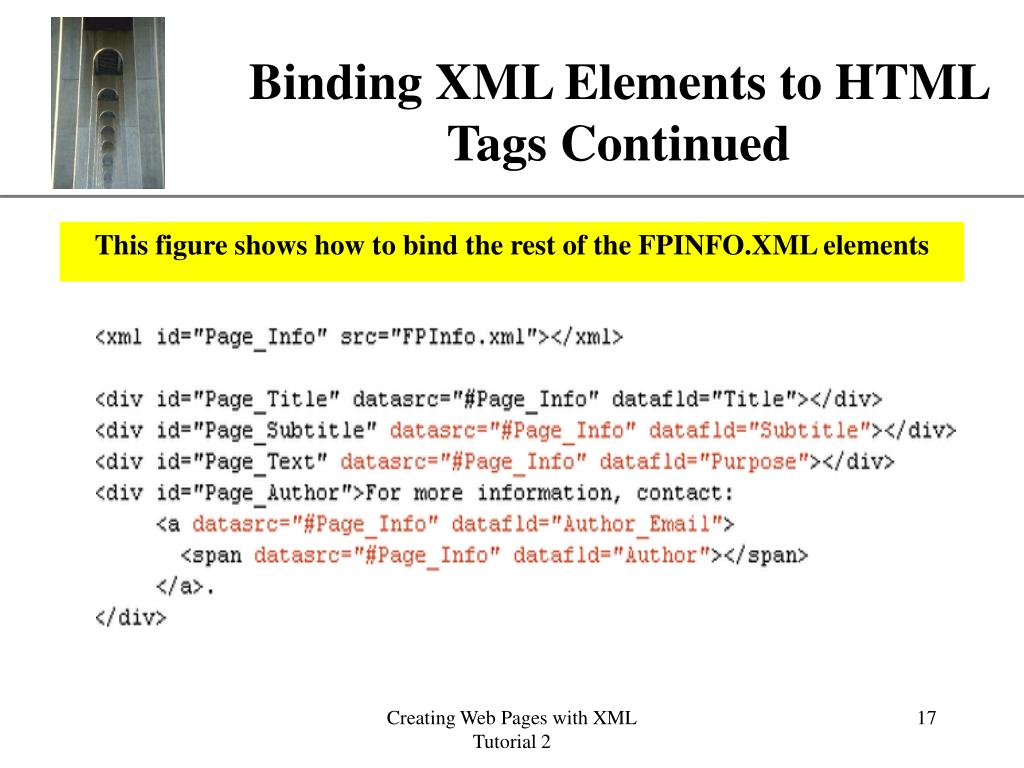 Binding XML Elements to HTML Tags Continued