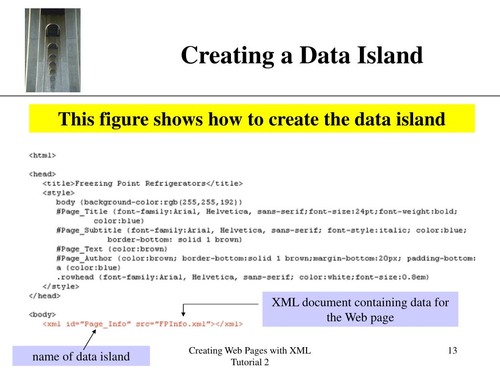 XML document containing data for the Web page