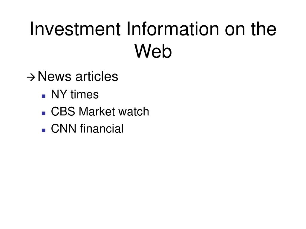 Investment Information on the Web