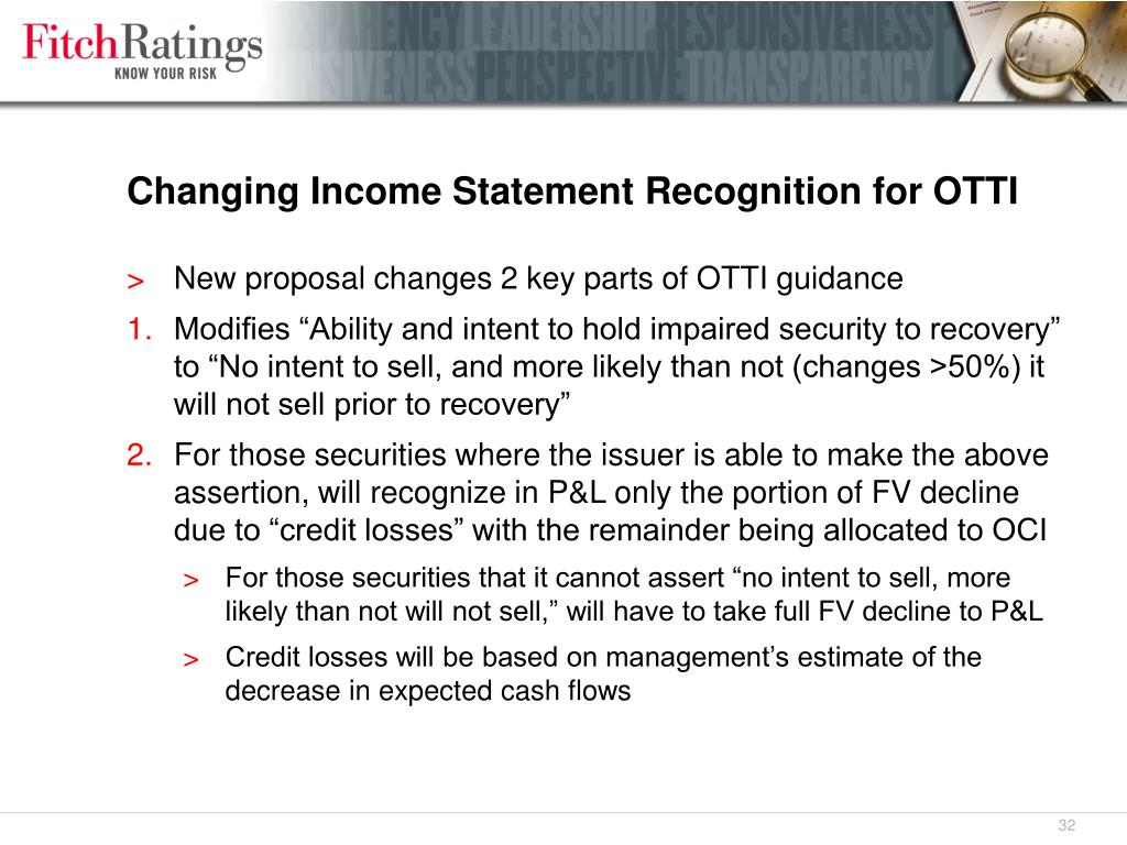 Changing Income Statement Recognition for OTTI
