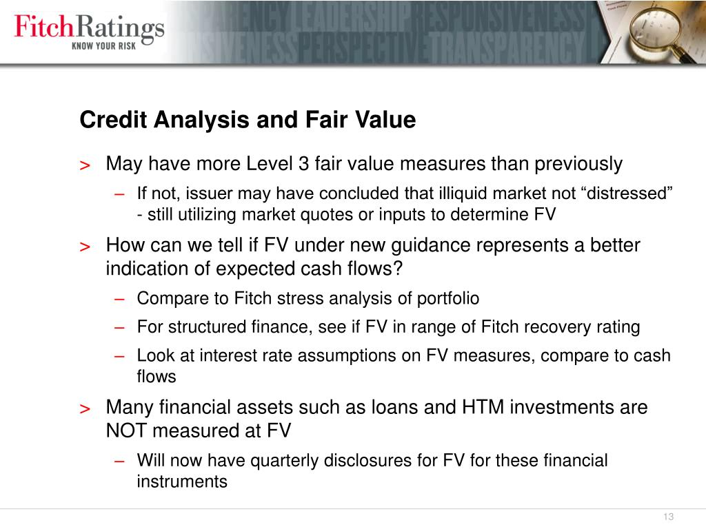 Credit Analysis and Fair Value