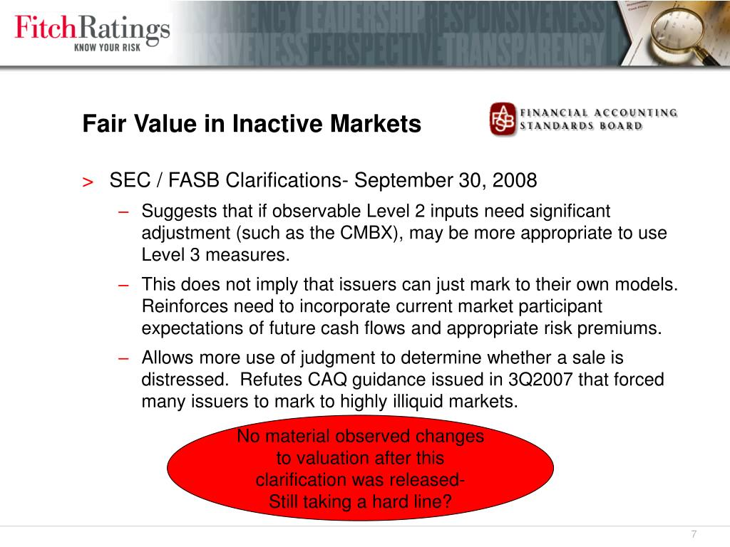 Fair Value in Inactive Markets