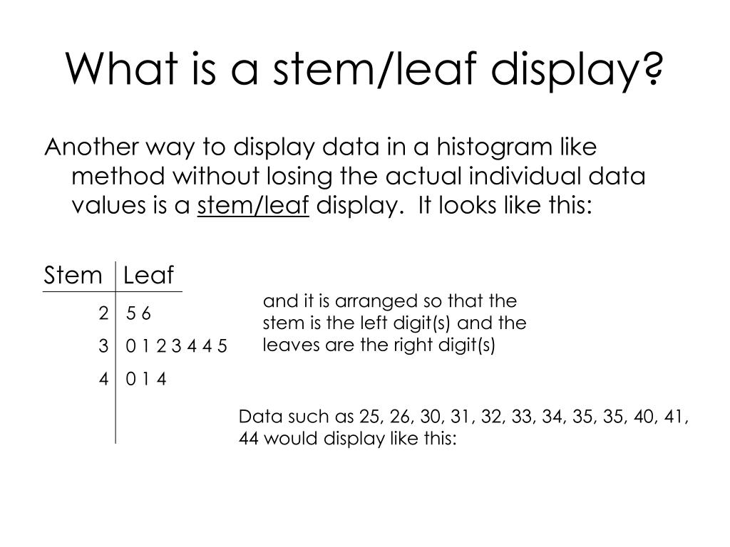 What is a stem/leaf display?
