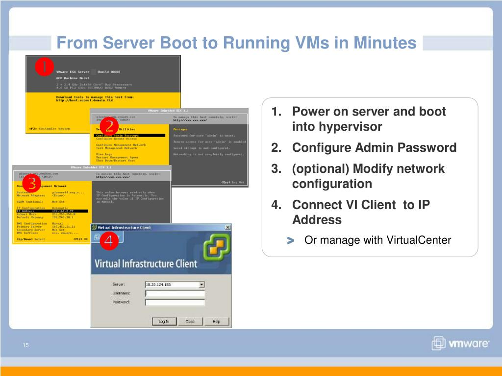 Power on server and boot into hypervisor