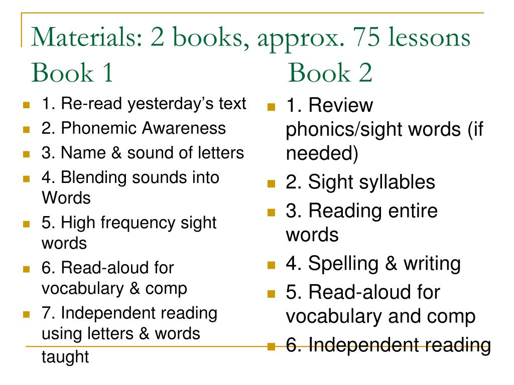 Materials: 2 books, approx. 75 lessons