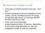 the best way to learn to read