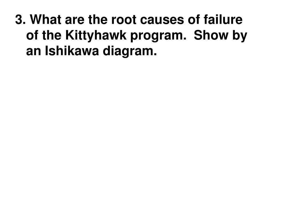 3. What are the root causes of failure of the Kittyhawk program.  Show by an Ishikawa diagram.
