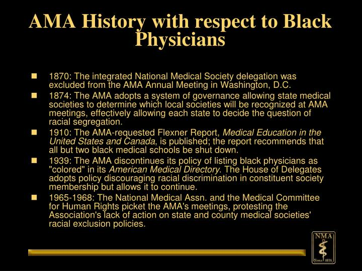 Ama history with respect to black physicians
