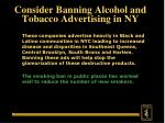 consider banning alcohol and tobacco advertising in ny