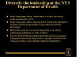 diversify the leadership at the nys department of health