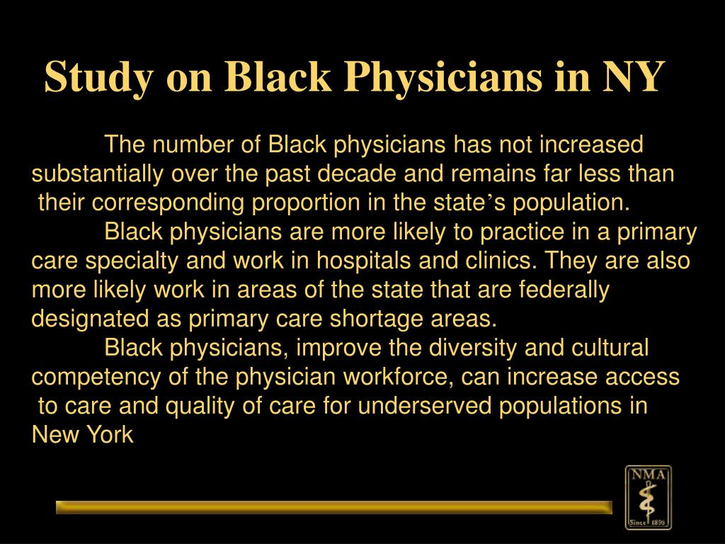 Study on Black Physicians in NY