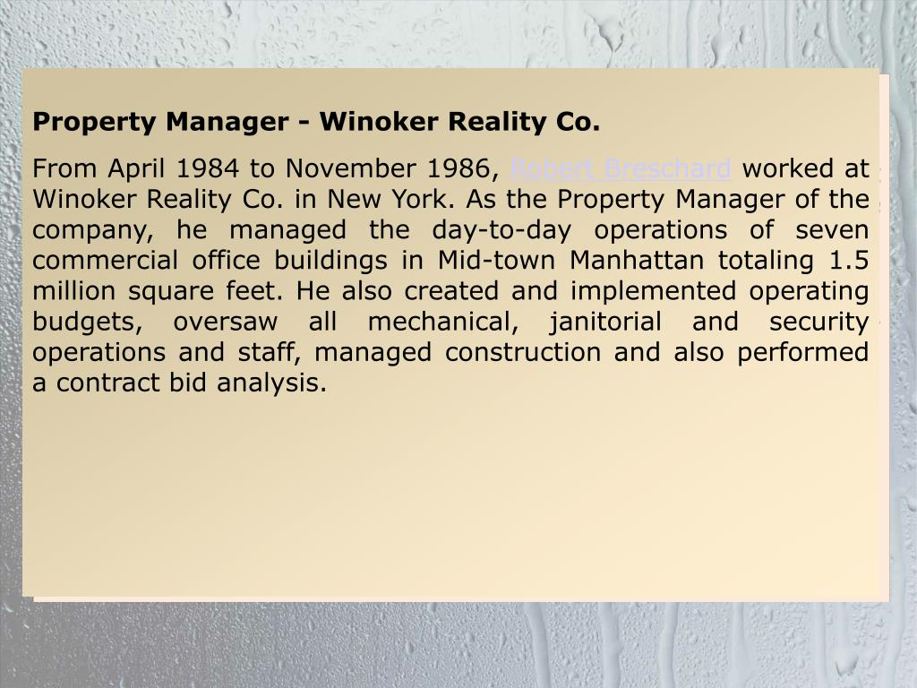 Property Manager - Winoker Reality Co.