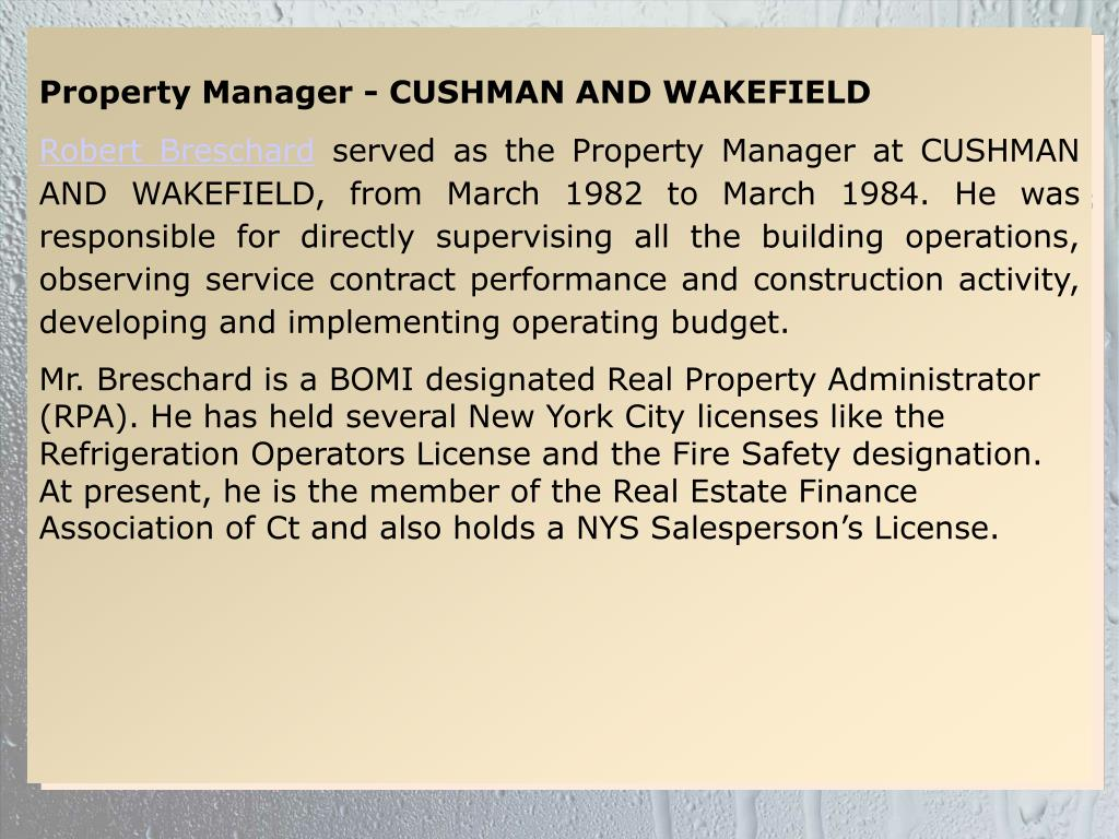 Property Manager - CUSHMAN AND WAKEFIELD