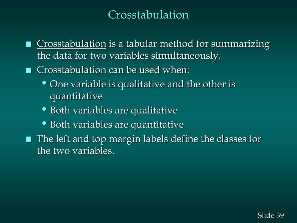 Crosstabulation
