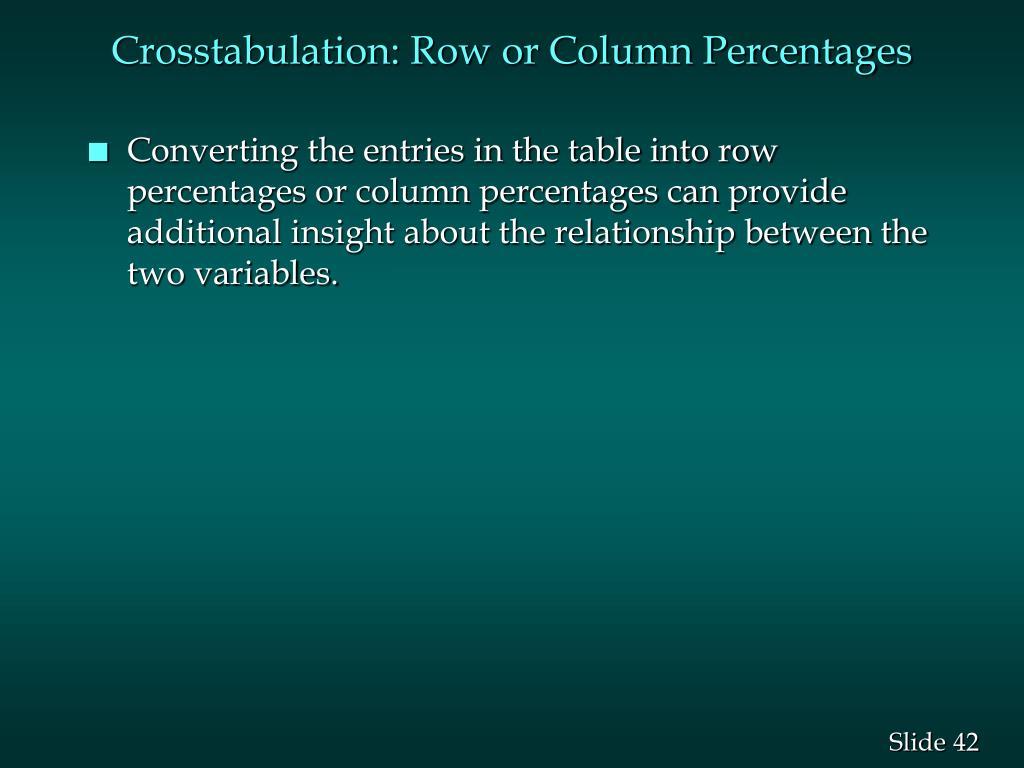 Crosstabulation: Row or Column Percentages