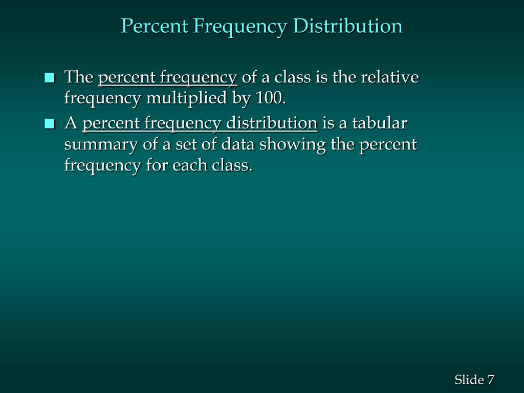 Percent Frequency Distribution