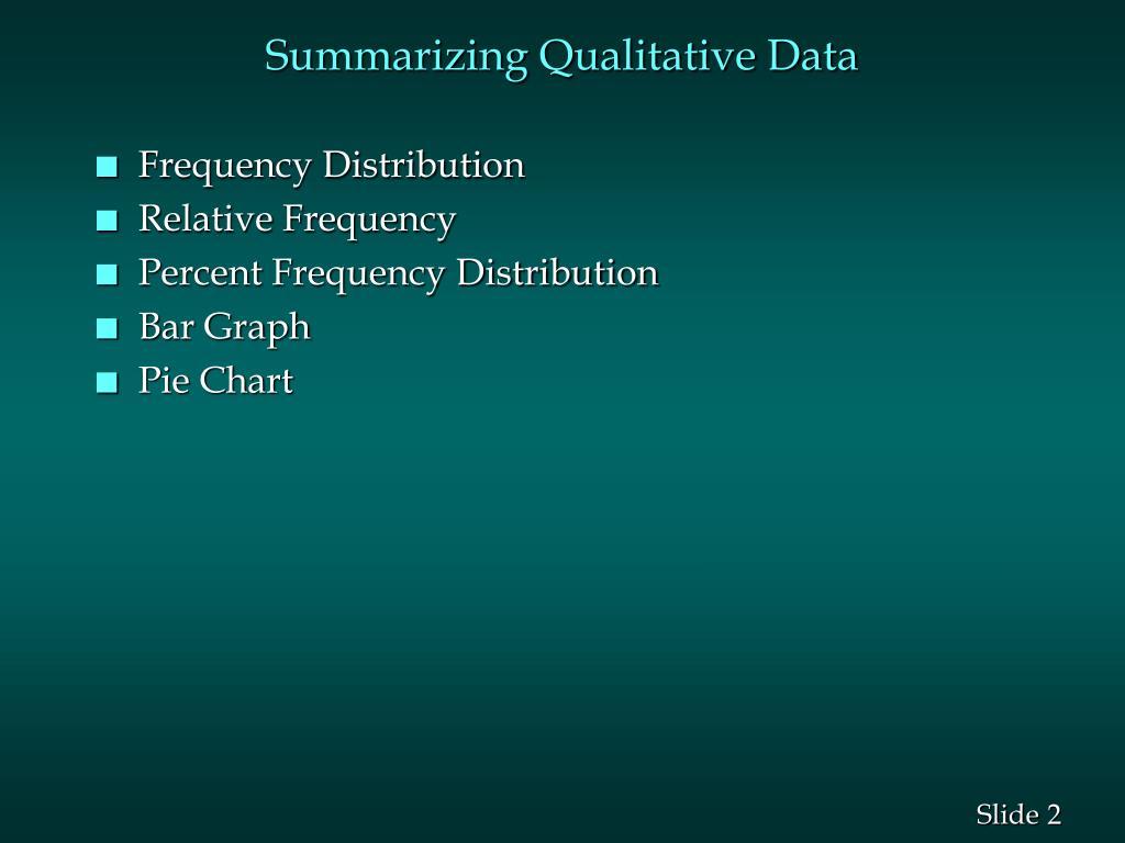 Summarizing Qualitative Data