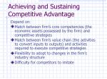 achieving and sustaining competitive advantage