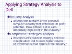 applying strategy analysis to dell