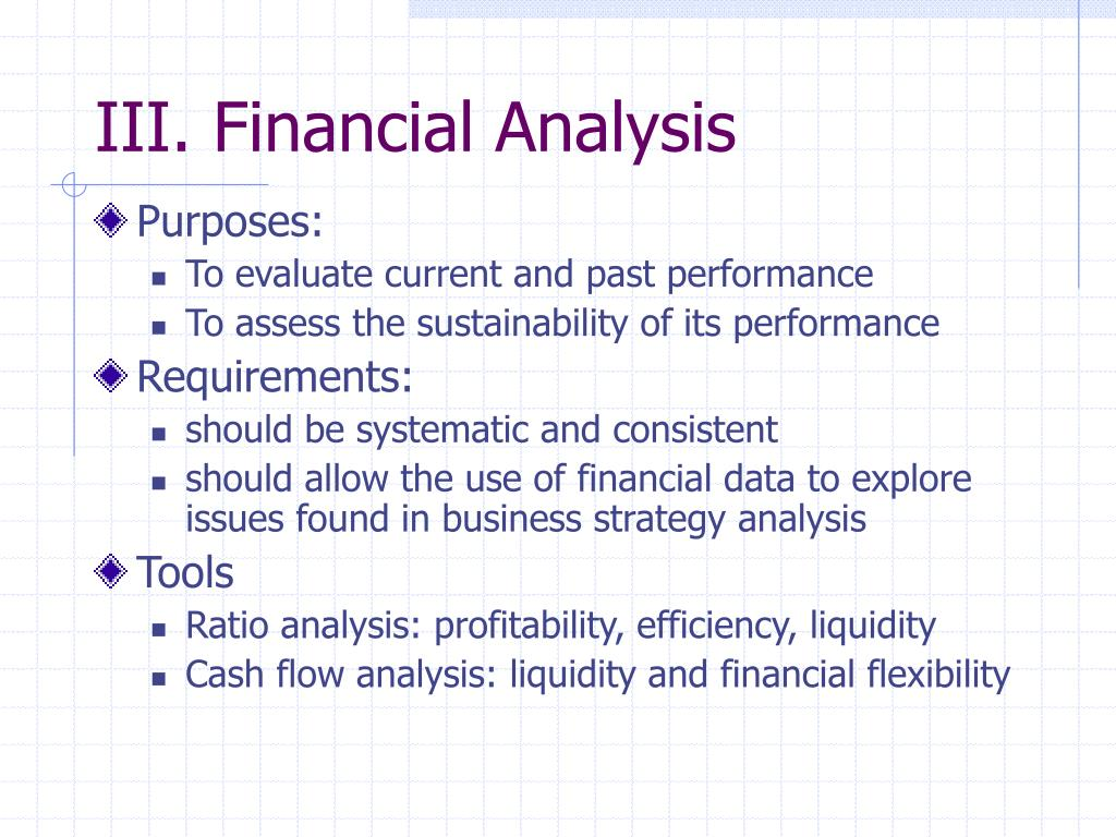 III. Financial Analysis