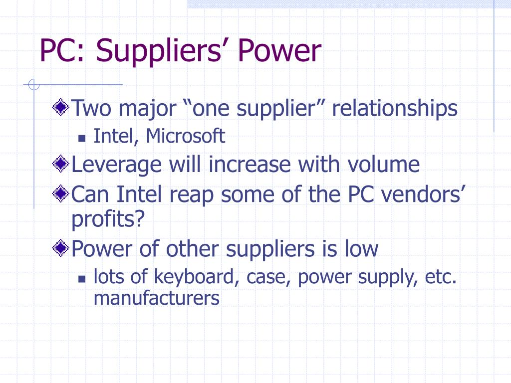 PC: Suppliers' Power