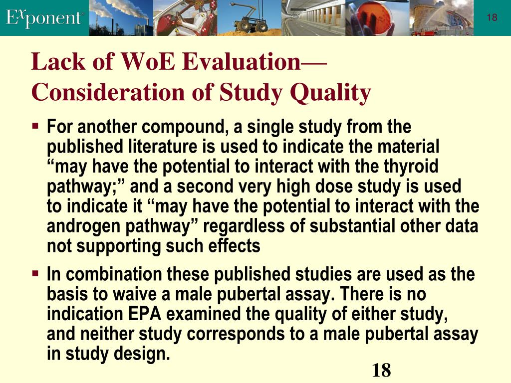 Lack of WoE Evaluation—Consideration of Study Quality