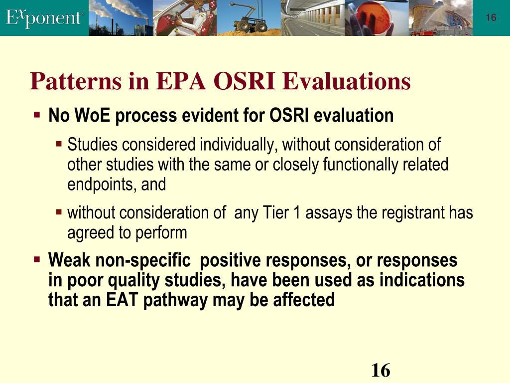 Patterns in EPA OSRI Evaluations