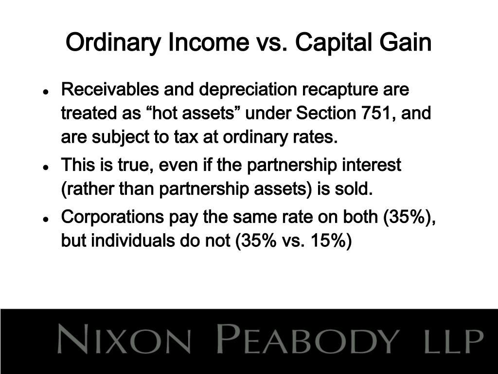 Ordinary Income vs. Capital Gain
