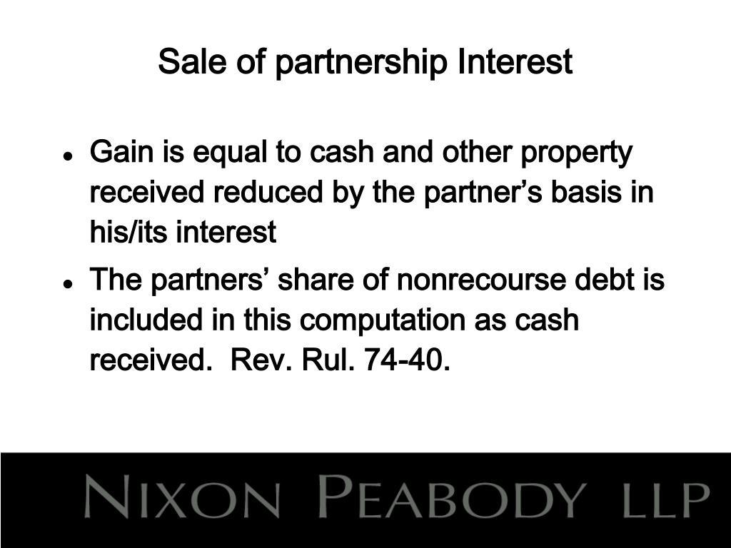 Sale of partnership Interest
