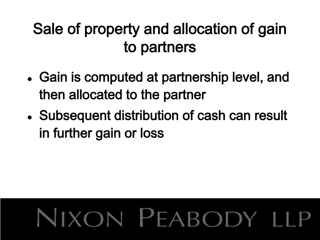 Sale of property and allocation of gain to partners