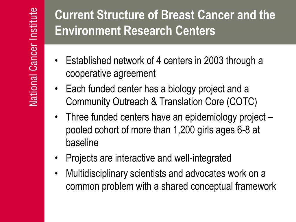 Current Structure of Breast Cancer and the Environment Research Centers