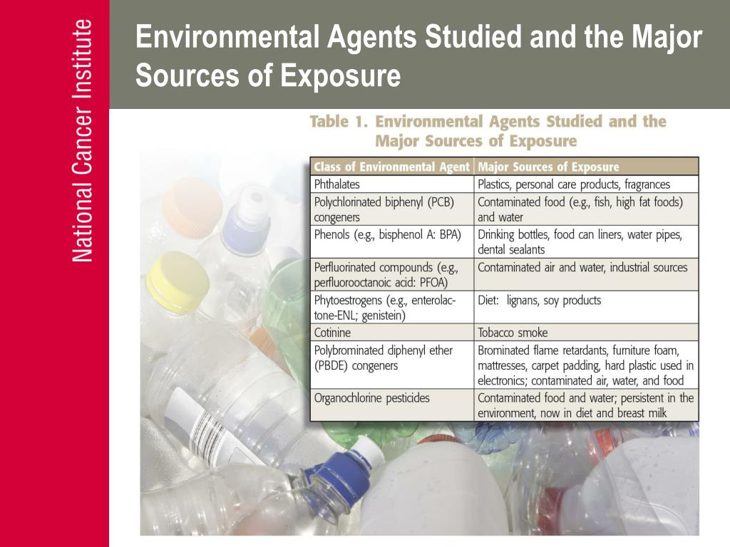 Environmental Agents Studied and the Major Sources of Exposure